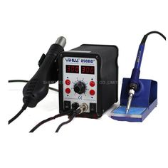 48.06$  Buy here - http://aliqea.worldwells.pw/go.php?t=32657689429 - 220V 2 in1 Digital Display Electric Solder Iron + Hot Air Heat Gun SMD Rework Soldering Desoldering Station YIHUA 898BD+