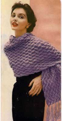 Add a touch of purple to your ensemble by knitting your own vintage Crescendo Shawl.  Free shawl knitting patterns like this one make great gifts too.