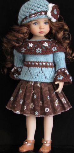 """Sweater,jumpsuit,hat,bracelet&shoes set made for effner little darling 13"""" dolls"""
