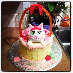 Cat baby shower cake