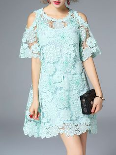 #AdoreWe ELENYUN Cold Shoulder Floral Crocheted Lace Pierced A-line Mini Dress With Camis - AdoreWe.com