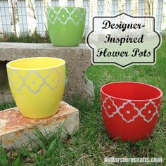 Dress up some inexpensive pots from the dollar store with a little spray paint and some contact paper. Get the DIY tutorial from Dollar Store Crafts.