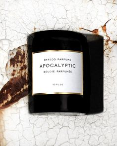 Byredo- hmmm- even a candle for the end of the world person- there's something for everyone who loves scent! Candle Branding, Candle Packaging, Candle Labels, Jar Labels, Candle Jars, Perfume, Luxury Candles, Label Design, Candle Making