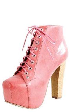Leatherette Wooden Heel Booties CORAL,$19.50$19.50