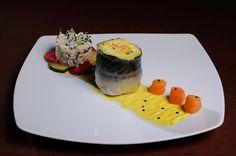 FEL INTERMEDIAR - Rulou de macrou cu legume* Somon Marinat* Ratatouille din zucchini si telina marinata* Rizotto cu ciuperci* Sos de sofran