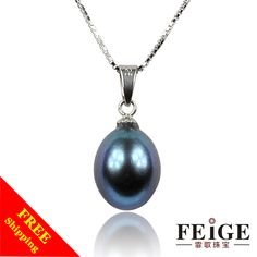 "Elegantly classic style 18""sterling silver chain necklace 8-9mm natural black pearl necklaces & pendants for women Free shipping $20.00"