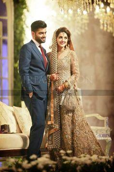 Couple is beautiful . Bridal Mehndi Dresses, Walima Dress, Shadi Dresses, Pakistani Wedding Outfits, Pakistani Bridal Dresses, Pakistani Wedding Dresses, Bridal Outfits, Designer Wedding Dresses, Wedding Attire