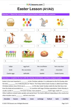 This Easter Lesson for A1/A2 level includes a picture matching exercise, a gap fill reading, a read and tell task and lots of speaking practice. #EasterESL #TeachEnglish #LearnEnglish #TESOL #TESL #TEFL #ELT #ESL #EFL #TeachingEnglish #TEFLtimesavers #EnglishHandouts #EnglishWorksheets #TEFLlessonPlans Esl Resources, Free Teaching Resources, Learning English, English Lessons, Efl Teaching, English Language Learners, Online Lessons, Teacher Notes, New School Year