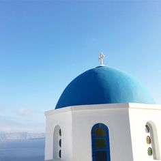 Blue painted roof, Santorini, Greece Santorini Greece, Taj Mahal, Places To Go, Building, Blue, Painting, Travel, Voyage, Trips