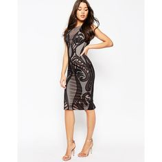 ASOS Premium Lace Panelled Midi Bodycon Dress ($80) ❤ liked on Polyvore featuring dresses, black, tall dresses, body con dress, asos dresses, pattern bodycon dress and body conscious dress