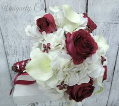 Berry wine wedding bouquet White calla by UniquelyChicWeddings