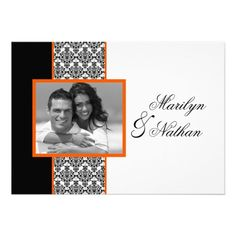 Black White Orange Damask Photo Wedding Invite