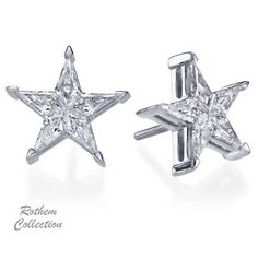 Gold Diamond Studs 18k White Real Diamonds Stud Earrings Star Solid