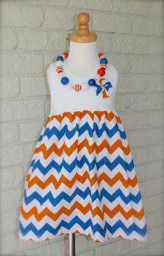 FLORIDA GATORS  girls chevron tank dress  sizes 6mo by wrententen, $34.00