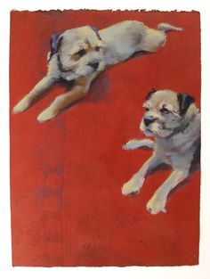 2 dogs, pastel on monotype   Sylvia Gonzalez
