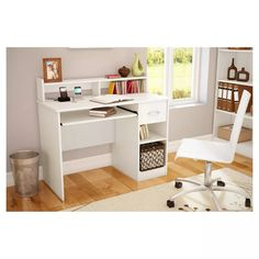 Axess Wood Computer Desk With Hutch White - South Shore : Target Home Office Computer Desk, Computer Desk With Hutch, Desk Hutch, Corner Desk, Office Desks, Kids Computer Desk, White Desk With Drawers, Shelf Furniture, Home Office Furniture