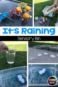 It's Raining Sensory Bin | Weather Preschool Unit | Use sponges for clouds and cups with holes poked in the bottom for this rainy sensory bin!