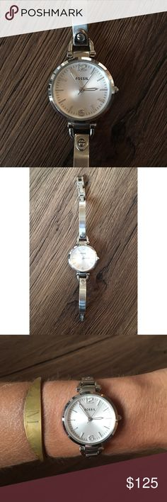 Fossil Georgia Stainless Steel Watch Beautiful Stainless Steel Watch. Fantastic Condition - barely worn! Adjustable band insets (add or subtract based on wrist size). Standard Face size! Fossil Accessories Watches