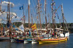 Des yoles de Bantry lors des Fêtes Maritimes de Douarnenez (Finistère, France) en juillet 2008. De droite à gauche : Spered ar Mor (Le Guilvinec), Val Maubuée (Marne-la-Vallée), Ma'yole (Toulon), Amitié (Douarnenez) et Profils pour l'avenir (Dunkerque).