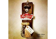 Rustic Pallet Wood Beer Bottle Opener Cap Catcher - Budweiser- Groomsmen Gift-Gift for Dad-Husband Gift-Nascar Fans-Gift for Grooms-Man Cave