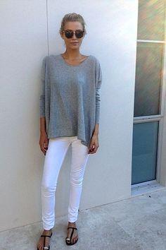 white-jeans-grey-sweater-sandals-ummer-weekend-hamptons-bbq-beach-via-lspbh.blogspot.com