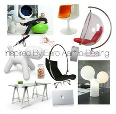 """""""Office Inspired By Eero Aarnio Desing"""" by mertsi on Polyvore featuring interior, interiors, interior design, home, home decor, interior decorating, Vinyl Revolution, Kikkerland, Graphic Image and U Brands"""