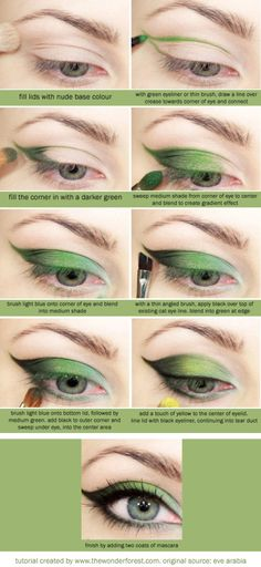 This weekend I decided to experiment with a makeup tutorial I found on Pinterest. Of course it was pinned by someone from Tumblr, so the original source was pretty much lost. All I could find (after much searching) was this Arabic site as a source. It originally called for super vibrant greens, but