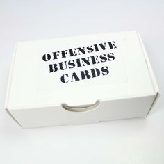 Offensive Business Cards. For the next lunch, happy hour, dinner, or corporate boondoggle, you'll be prepared to tell them how you really feel. Expressing your true feelings has never been easier.