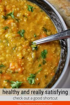 Red Lentil Vegetable Soup is a healthy, hearty, satisfying meal in a bowl. Perfect for a weeknight meal served with crusty bread. Vegetarian Vegetable Soup, Vegetarian Main Dishes, Vegetable Soup Recipes, Vegetarian Recipes, Cooking Recipes, Ww Recipes, What's Cooking, Lentil Soup Recipes, Red Lentil Soup