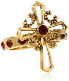 """The Vatican Library Collection """"Vatican Carded Rosary Rings"""" Gold Siam Red Cross Ring, Size 5 The Vatican Library Collection,http://www.amazon.com/dp/B00ESZDZK0/ref=cm_sw_r_pi_dp_P2CLsb1HKT41JWC1"""