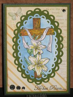 Easter Lilies & Cross - Just For Fun Rubber Stamps