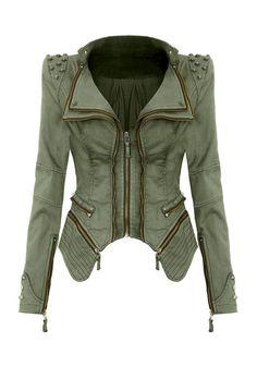 Studded Shoulder Denim Blazer - Green - Unique Trendy Denim Jacket