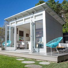 One of the most practical ways to upgrade your property with prefab is through a modern backyard shed. Here are five rad options. Shed Office, Backyard Office, Backyard Studio, Backyard Sheds, Modern Backyard, Pool Shed, Gym Shed, Backyard Cabana, Backyard House
