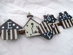 Americana Garland Patriotic Bird Houses Welcome Sign 4th of July Wall Hanging #Unbranded