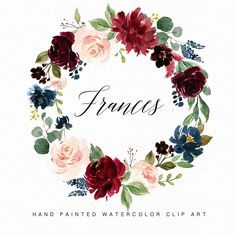 Watercolor flower wreath clipart- Frances ::::::What do you get?:::::: 2 Watercolor Flower wreath(PNG/JPEG) x Format: PNG with transparent background/JPEG with white background ::::::How can you open and edit the files?:::::: You can use Photoshop to edit Watercolor Leaf, Watercolor Flower Wreath, Watercolor Texture, Logo Couronne, Floral Frames, Wedding Clip, Clip Art, Photoshop, Wedding Designs