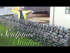 Polystyrene / Styrofoam Stone Wall by Sculpture Studios Dry Stone, Faux Stone, Styrofoam Art, Concrete Sculpture, Stone Sculpture, Foam Carving, Papercrete, Castle Wall, Outdoor Walls