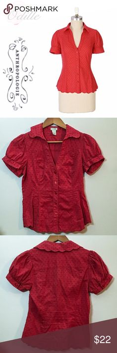 Anthropologie • Odille Red Elena Blouse Button down Elena blouse by Odille for Anthropologie features lovely Swiss-dotted cotton, given shape by seaming and scalloped hems. Button cuff short sleeves, 100% cotton. EUC. Anthropologie Tops