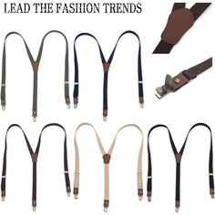 New Mens Women Elastic faux Leather Suspenders Fashion Adjustable Braces Clip-On #followthehappiness