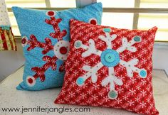 Snowflake Applique Pillows, Holiday Project #2 - Jennifer Jangles