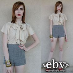 Vintage 70s Nude Ascot Bow Blouse Top S M by shopEBV on Etsy, $48.00