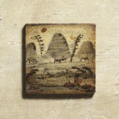 鉄絵色差山水文陶板 セント・アイヴス 1952年 幅9.9cm