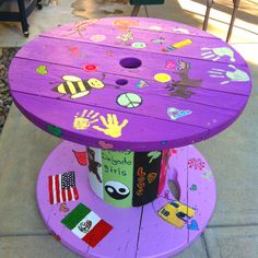 Cable spool turned into a kids table