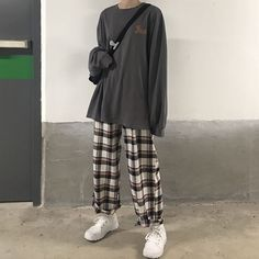 May 2020 - monroll Lettering Pullover / Plaid Wide Leg Pants Tumblr Outfits, Indie Outfits, Edgy Outfits, Cute Casual Outfits, Korean Outfits, Retro Outfits, Grunge Outfits, Vintage Outfits, Fashion Outfits