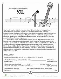 Worksheets Music History Worksheet music worksheets black history month and fourth grade on pinterest comprehension of soul