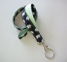 Lanyard ID Badge Holder - Dark Navy Black and white elephants with mint green - Lobster clasp and key ring