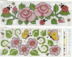 Cross stitch pattern, blowers, ladybug and butterfly.