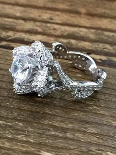 A Museum Perfect 2CT Russian Lab Diamond Engagement Promise Wedding Floral Ring