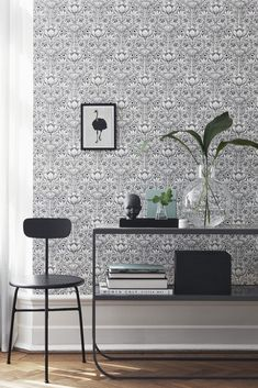 Обои 6086 Eco Black and White - Artique Kitchen Wallpaper, Home Wallpaper, Europe Wallpaper, Grey And White Wallpaper, Scandinavian Wallpaper, Rich Home, Botanical Wallpaper, Black White, White Rooms