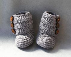 100 Cotton Crochet Baby Boots in Dark Grey with by atelierbagatela