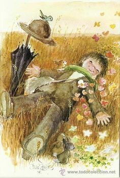 Ferrandiz Autumn Illustration, Beauty Illustration, Vintage Pictures, Art Pictures, Holly Hobbie, Eye Art, Whimsical Art, Conte, Fun Prints